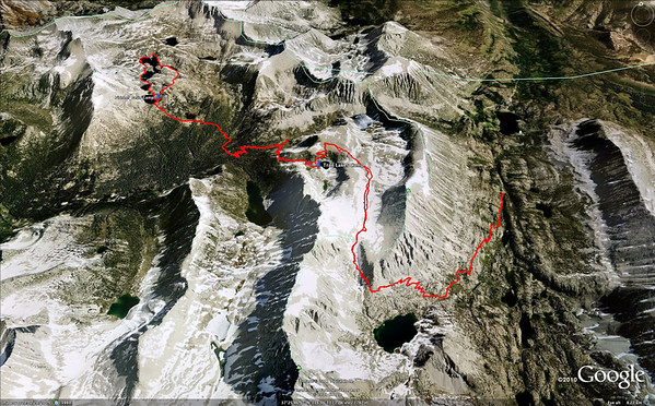 View of our route and campsites from Google Earth.