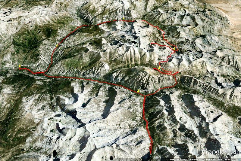 Counter-clockwise loop of Rae Lakes