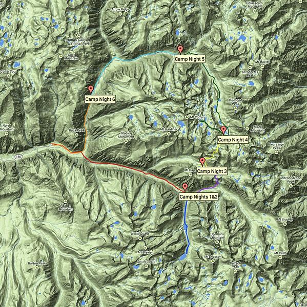 Counter-clockwise loop of Rae Lakes