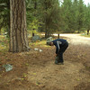 Following morning camp clean up next to our big Ponderosa Pine.