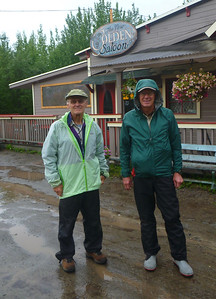 Rich and Brian in front of saloon in McCarthy.