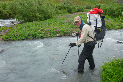 Day 2 - Our first stream crossing at Monahan Creek was easy.