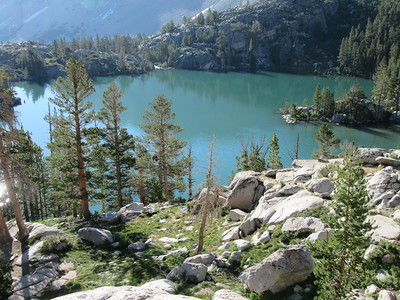 The next morning I went to hike the trail that loops around the Big Pine Lakes basin.  First Lake looked good in the morning sun, while ...