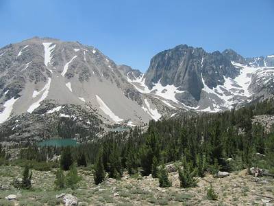 ... some great perspectives of the Big Pine Lakes area.  Here, a look down at First Lake (on the left) where I was camped and Second Lake (to the right).  As I hiked down ...