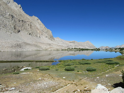 I hiked farther up the basin and along Golden Bear Lake and got this view back toward where I took the prior photo.
