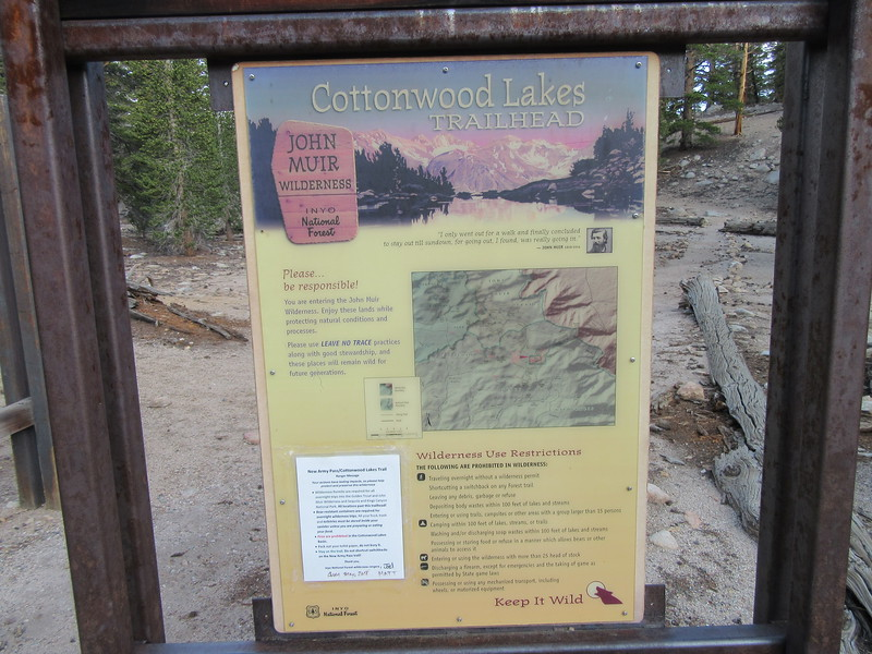 There were high temps in LA, and fire and smoke from wildfires up north; I needed to find the cooler and cleaner air in between and found it here.  I started out from the Cottonwood Lakes Trailhead (10,040'), ...