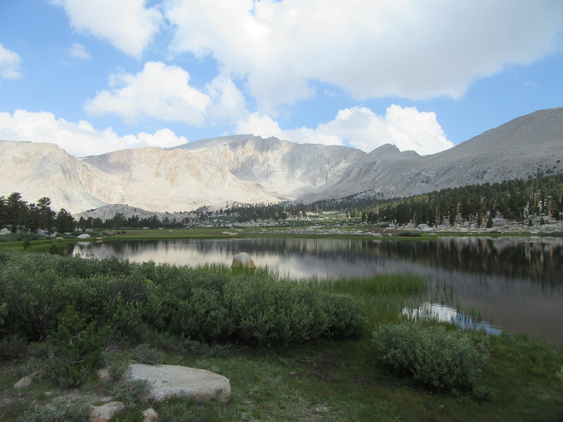 On my loop hike, I went past this unnamed lake in the middle of Cottonwood Lakes Basin with Mt. Langley in the distance, before ...