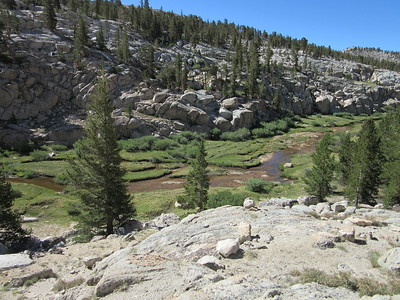 ... the lower reaches of Miter Basin where Rock Creek flows as several small streams.