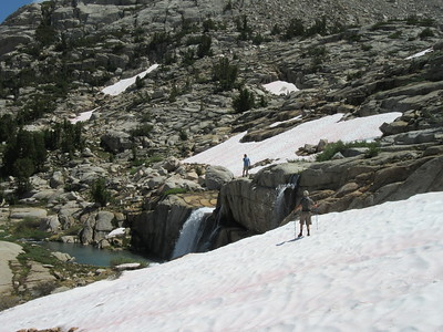 ... a waterfall.  Gerald hiked around to get next to it; Steve started across the snow field to it but had to turn back because it was hollowed out underneath; I just lazily sat and enjoyed the place.  We hiked on to their camp near Sailor Lake and then I headed back to my camp at Dingleberry Lake.