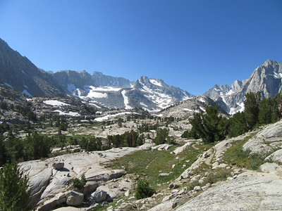 ... earned a wider view of upper Sabrina Basin, through which Middle Fork Bishop Creek flows toward Lake Sabrina, and ...