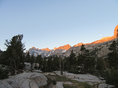 The next morning, the sun lit up the Sierra crest to the west while the one-day-past full moon was still visible.
