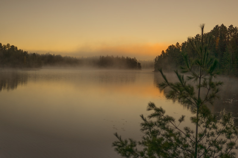 Fog in the morning on Pageant Lake.