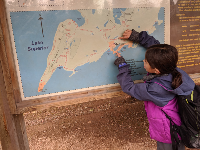 We did the last 6 km in no time on the wide Sawyer Bay trail! Nothing to it compared to the much more treacherous Talus Lake trail. Maddie really enjoyed working with the map on this trip!