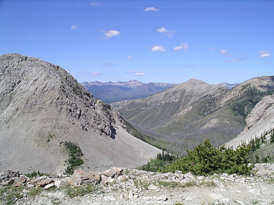 Top of Headquarters Pass, looking due west.  We are headed for the mountains shown in the far distance!