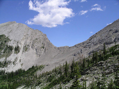 Looking back up at the pass (you can see the trail coming down) from the west side.