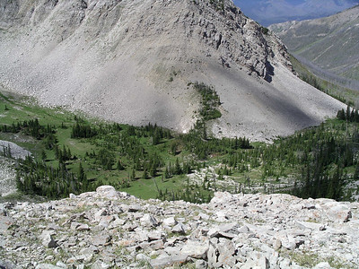 Looking down into a nice meadow just below the west side of Headquarters Pass.