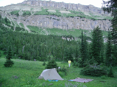 Camp at Sock Lake..even in July it gets cold in the evenings!