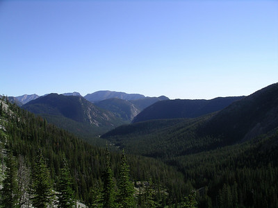 From the near the top of Headquarters Pass looking back down at the South Fork Trailhead and beyond.