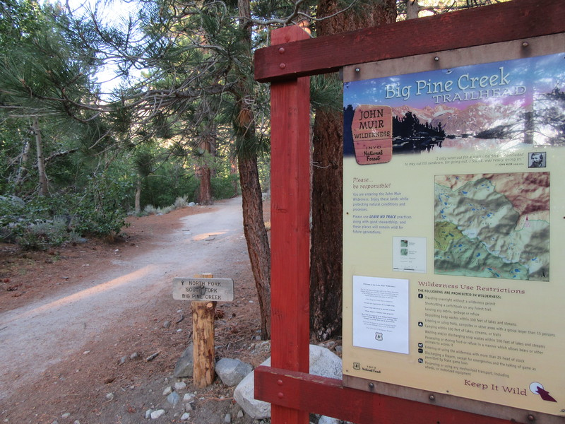 I started from the Big Pine Creek Trailhead (7,841') near Glacier Lodge, ...