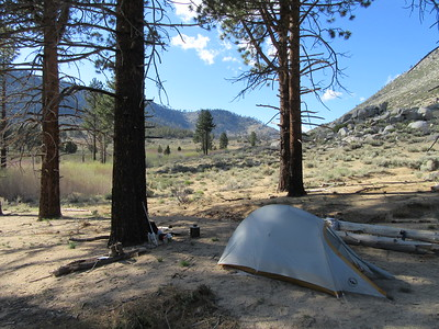 My camp for the first night (7,041') was near Crag Creek and Clover Meadow (both in the background), ...