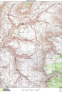 Map of our backpack. Our camps and route were slightly different than on this map. We camped 2 nights at Mountain Sheep Spring and  3 nights near the spring in lower Ojojojo Canyon - We hiked directly from Mountain Sheep Springs to Ojojojo Canyon and did not hike Kwagunt Canyon.