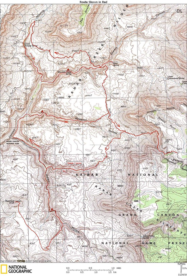 Map of our backpack. Our camps and route were slightly different than on this map. We camped 2 nights at Mountain Sheep Spring and  3 nights near the spring in lower Ojojojo Canyon - We hiked directly from Sheep Mountain Springs to Ojojojo Canyon and did not hike Kwagunt Canyon.