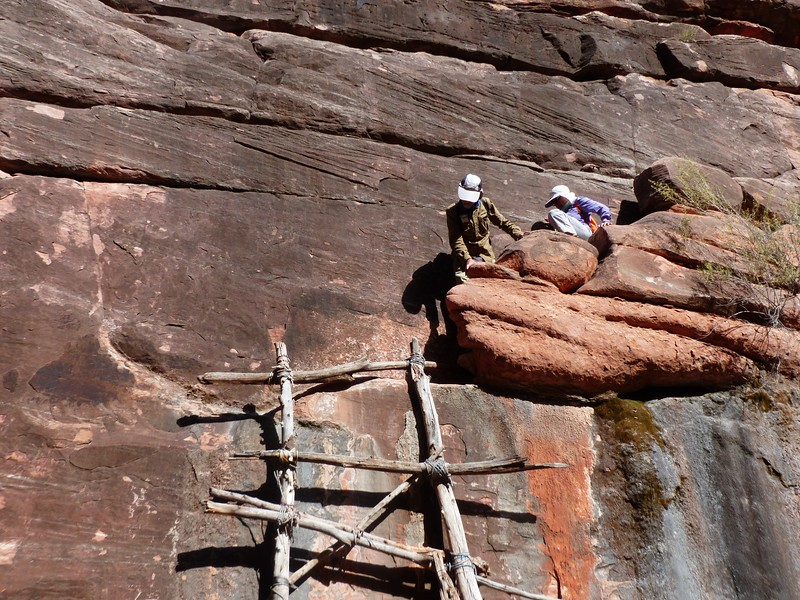 Day 2  - The Jumpup. To descend into the canyon, you need to descend a 4th class ledge and climb down on a very sturdy ladder.