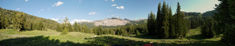 Panorama looking E from first night's campsite at the Middle Fork of Granite Creek group camp.