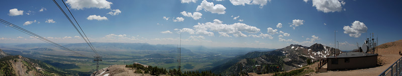 Panorama looking E and S from the top of the Jackson Hole Tram.<br /> <br /> Looking across Jackson Hole valley to the Gros Ventre range. Town of Jackson is obscured by the Gros Ventre Buttes.