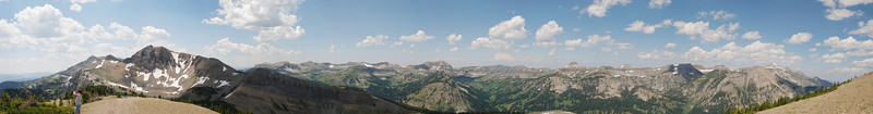 Panorama looking W from start of trail on Rendezvous Mountain.