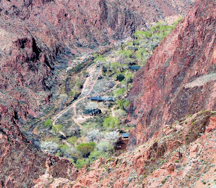 Hiking to Indian Gardens - A view of Phantom Ranch way below us.