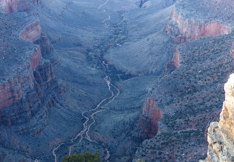 Looking down at Indian Gardens from the <br /> South Rim.