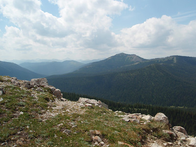 From the top of Badger Pass looking ahead at the mountains we will be headed for.  It is hard to see in this picture but Pentegon Mountain is the highest peak...we will be camping at the base of that mountain in a few days!!