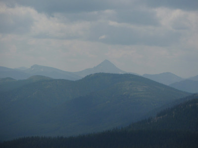 Pentagon Mountain (elevation 8873), that high pointed peak, as seen from the top of Badger Pass.