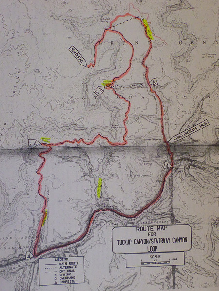 """Copy of the map contained in Steck's book, """"Grand Canyon Loop Hikes 2"""". Not a great reproduction, but it gives an idea of the route. The Big Boulder is located north of the trailhead where the actual loop starts. Best map to use is the Fern Glen 7.5 minute quad map."""