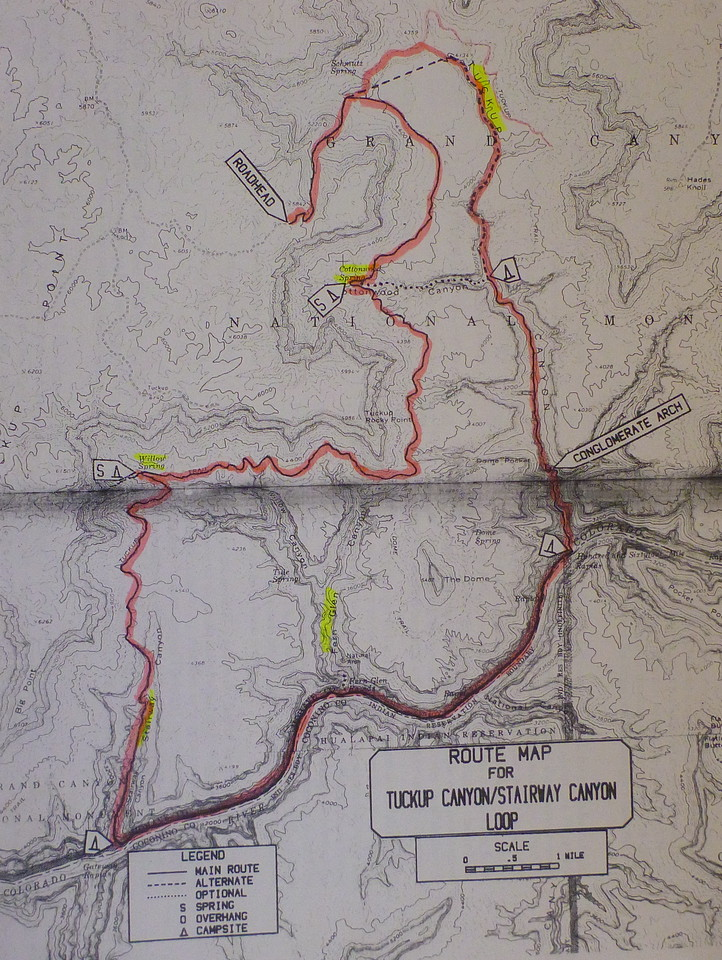 "Copy of the map contained in Steck's book, ""Grand Canyon Loop Hikes 2"". Not a great reproduction, but it gives an idea of the route. The Big Boulder is located north of the trailhead where the actual loop starts. Best map to use is the Fern Glen 7.5 minute quad map."