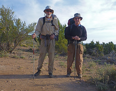 John and Rich ready to go at the Schmutz Spring Trailhead. Elevation is about 5600 feet.