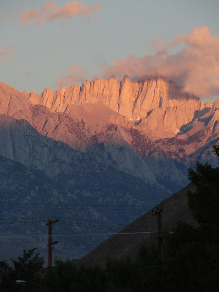 View from downtown Lone Pine. Sunrise on Mt. Whitney.