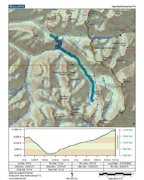 Map and profile of our second day on the trail. From Charlotte Lake down to Vidette Meadow, then following Bubb's Creek back uphill to the base of Center Peak and a campsite in the trees along Bubb's Creek.