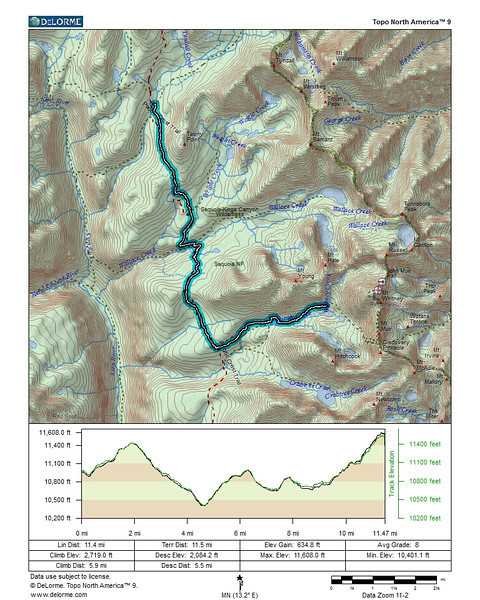 Map and profile of the fourth day. From our campsite at Tyndall Creek, over the Bighorn Plateau across Wright and Wallace Creek, through Crabtree Meadow to Guitar Lake.
