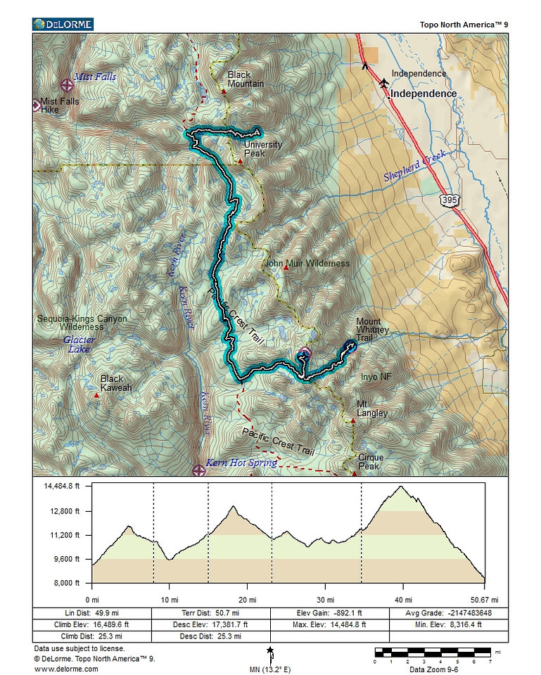 Map overview of the trek from Onion Valley to Whitney Portal via the John Muir Trail and the summit of Mt. Whitney.