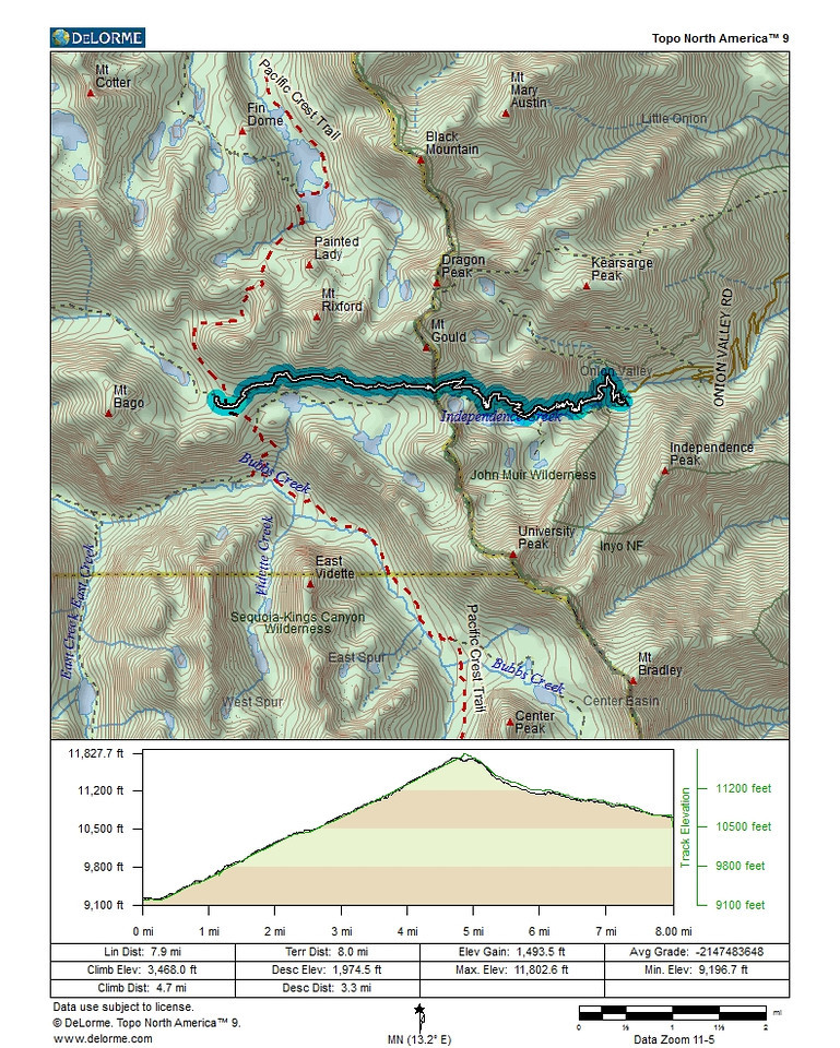 Map and profile of the first day on the trail. From the Onion Valley campground over Kearsarge Pass to our campsite near Charlotte Lake. A day that put our acclimatization to a quick test with a 2600 ft. elevation gain right from the start.