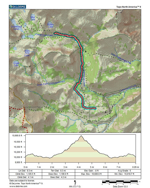Route of warm up hike from Horseshoe Meadows to Cottonwood Lakes.