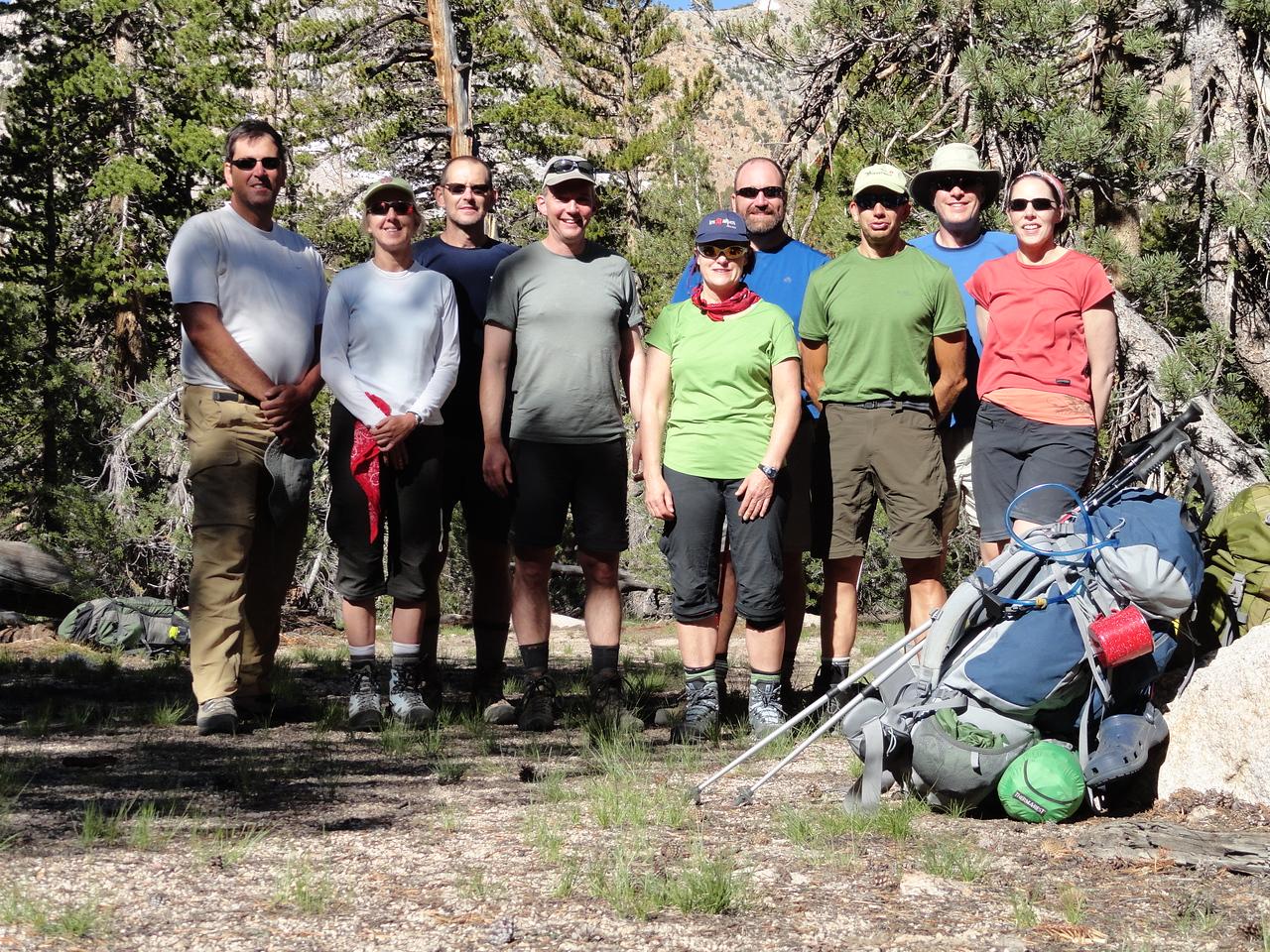 Group photo at the start of day 2 at our campsite near Charlotte Lake. L-R: Chris, Susan, Brian, John, Robin, David M., Kirk, David S., Coleen.