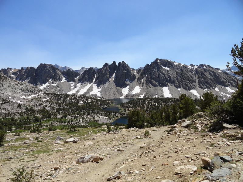 Kearsarge Lakes and Kearsarge Pinnacles from just over Kearsarge Pass.