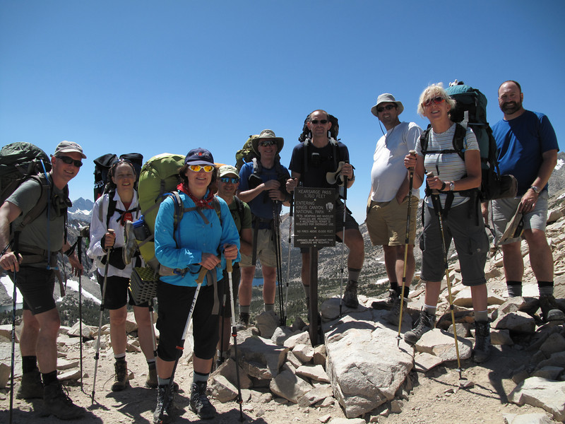 The group at Kearsarge Pass. L-R: John, Coleen, Robin, Kirk, David S., Brian, Chris, Susan, David M.