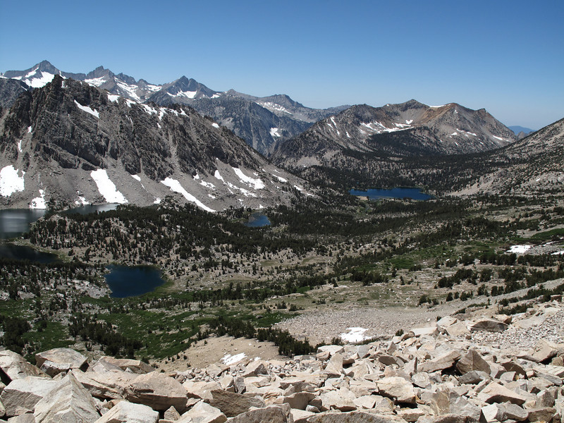 Kearsarge Lakes and Kearsarge Pinnacles from Kearsarge Pass.