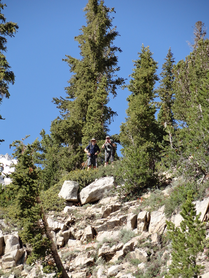 """Brian and John well ahead of the group shortly after starting off from Onion Valley on the first day of the trip. They would spend most of the trip """"off the front""""."""