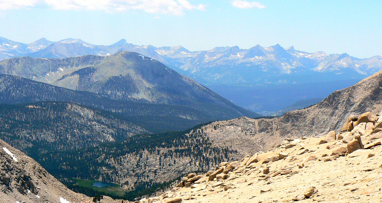 Looking west from New Army Pass to the Great Western Divide