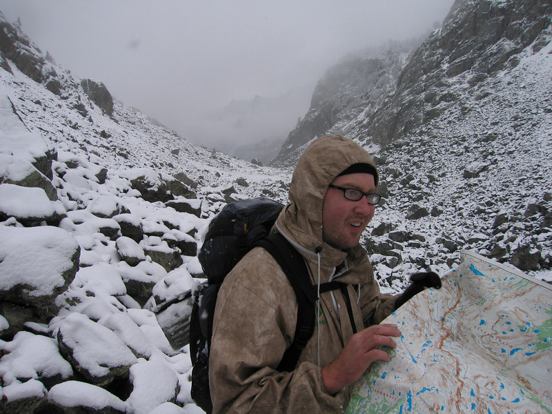 We lost the trail due to the snow cover and spent an hour and a half scrambling over snow covered boulders in a talus field. Not the recommended way to travel.
